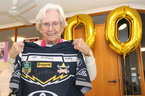Footy fan Daphne kicks on to 100 years