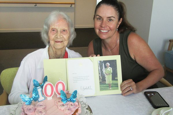 Tiny party but lots of love for new centenarian