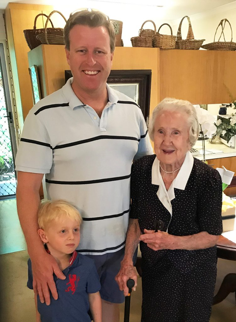 Mildred Phipps on her 105th birthday with grandson Tom Phipps and great-grandson Sam Phipps.