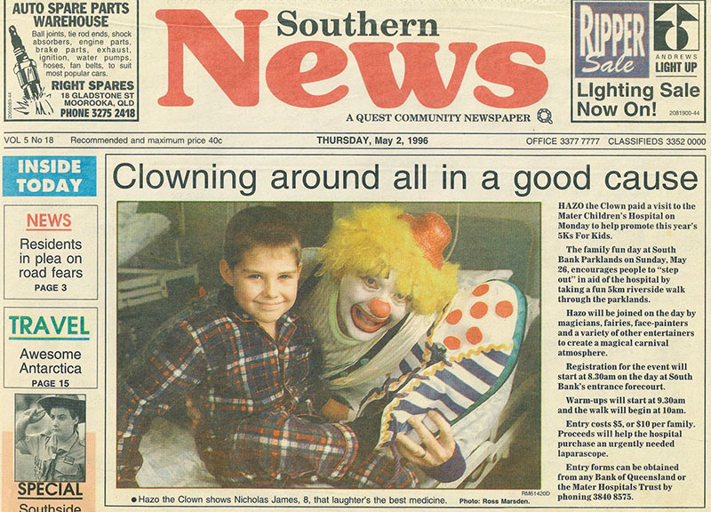 Hazo the Clown promoting a Mater Children's Hospital fundraiser in a Brisbane newspaper in 1996.