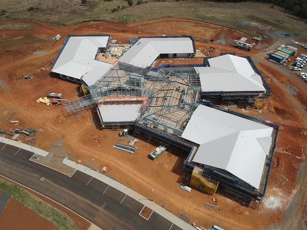 An aerial view of the new Carinity aged care building in Highfields. Photo by Paynters.