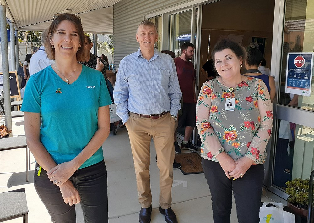 Kate Regnault from GIVIT, Scenic Rim Mayor Greg Christensen and Sam Caves from Carinity Fassifern Community Centre at the expo