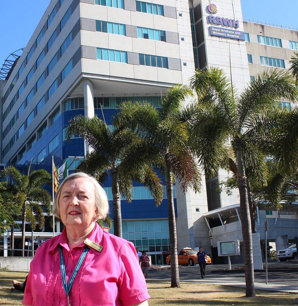 Long-serving Carinity hospital chaplain Noelene Kidd outside the Royal Brisbane and Women's Hospital.