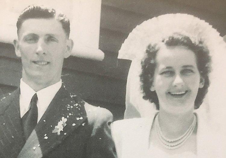 Alwyn and Doris Pfeffer on their wedding day in November 1950.
