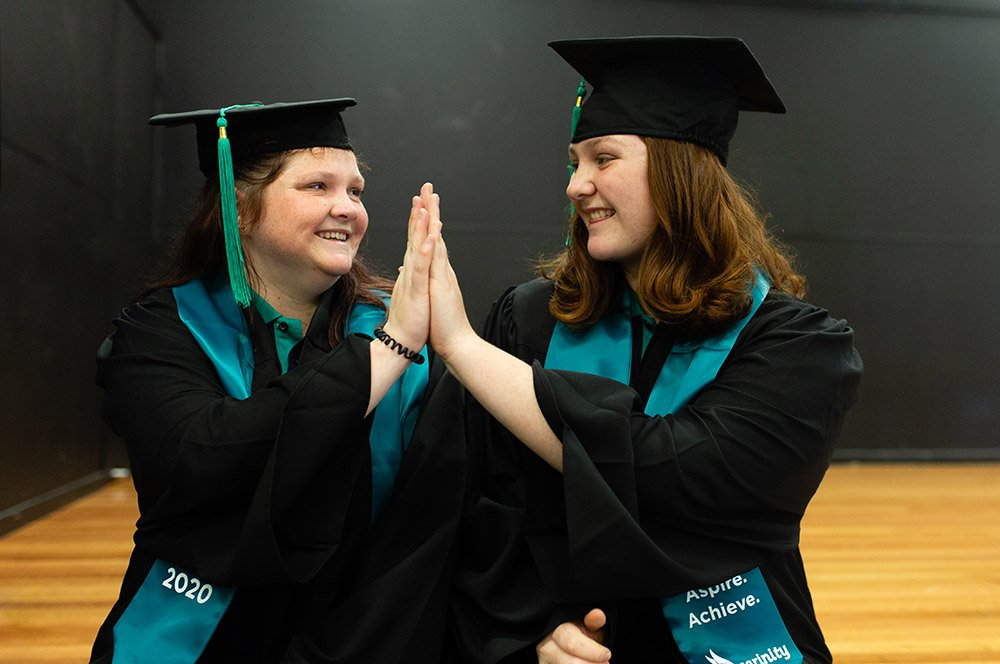 Carinity Education Gladstone Year 12 students Ambur and Mikaela have celebrated their graduation from high school.