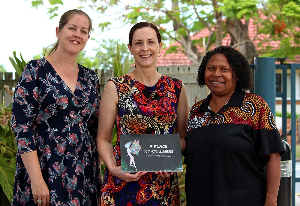 Lyndsey Sharp, Leann Faint and Aunty Adelaide Saylor launch A Place of Stillness. Photo by Tayla Sudall Photography.