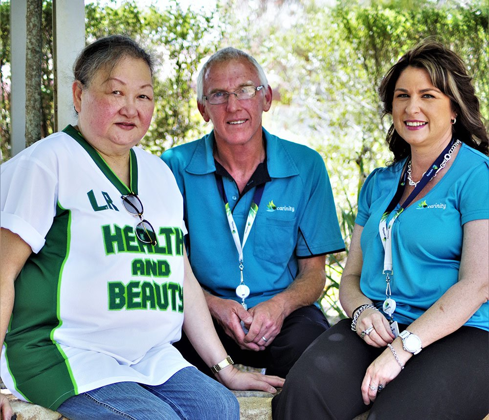 Maria Fairhall with David Asher and Steph Watson from Carinity Home Care Toowoomba.