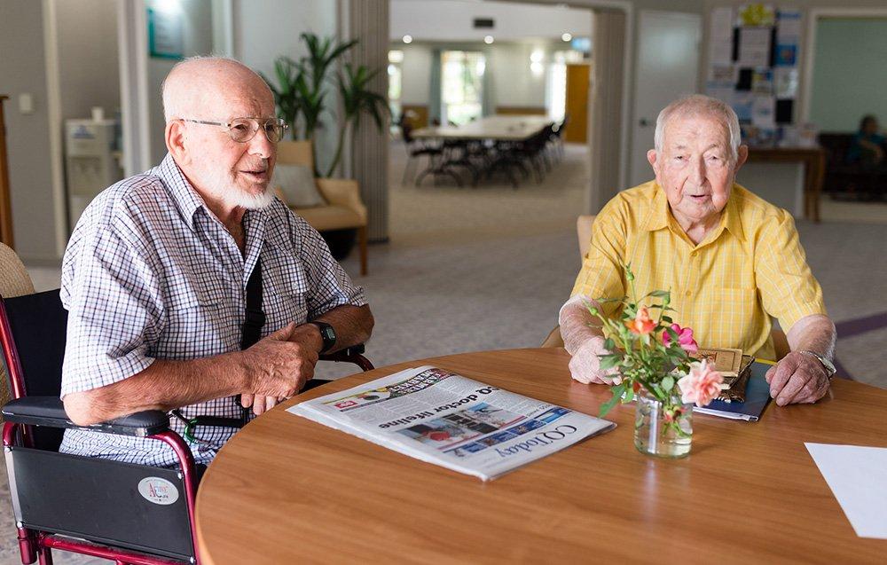 Wilhelm 'Bill' von Allmen and Ryszard 'Richie' Ziebicki at Carinity Shalom aged care in Rockhampton.