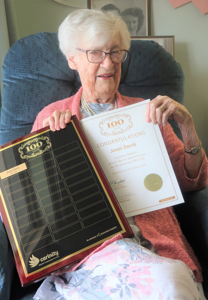 Joan Davis is the first Carinity Shalom resident inducted into the Carinity 100 Club for centenarians.
