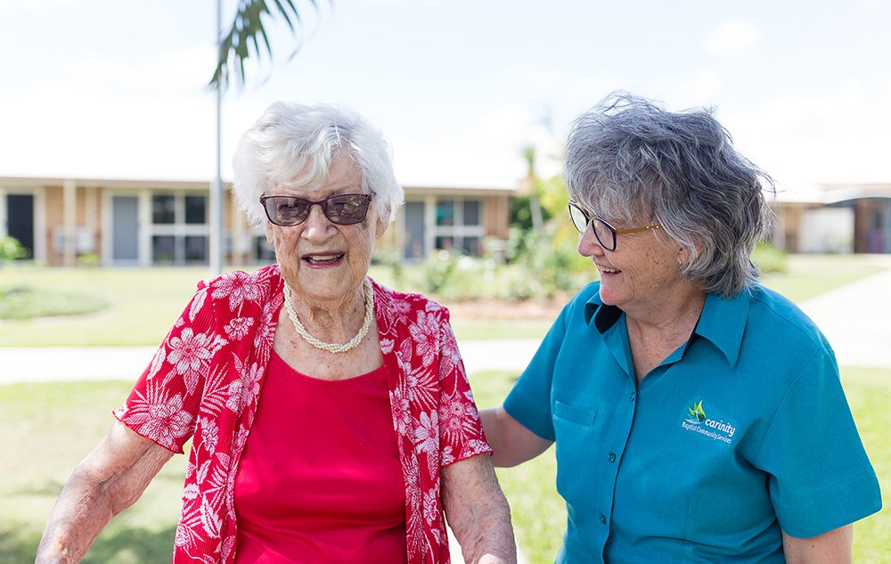 Joan Davis with Carinity Shalom aged care Diversional Therapist, Donna Hinchliffe.