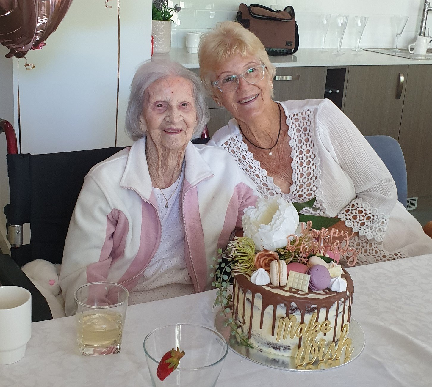 Gwen Cook on her 101st birthday at Carinity Cedarbrook aged care.