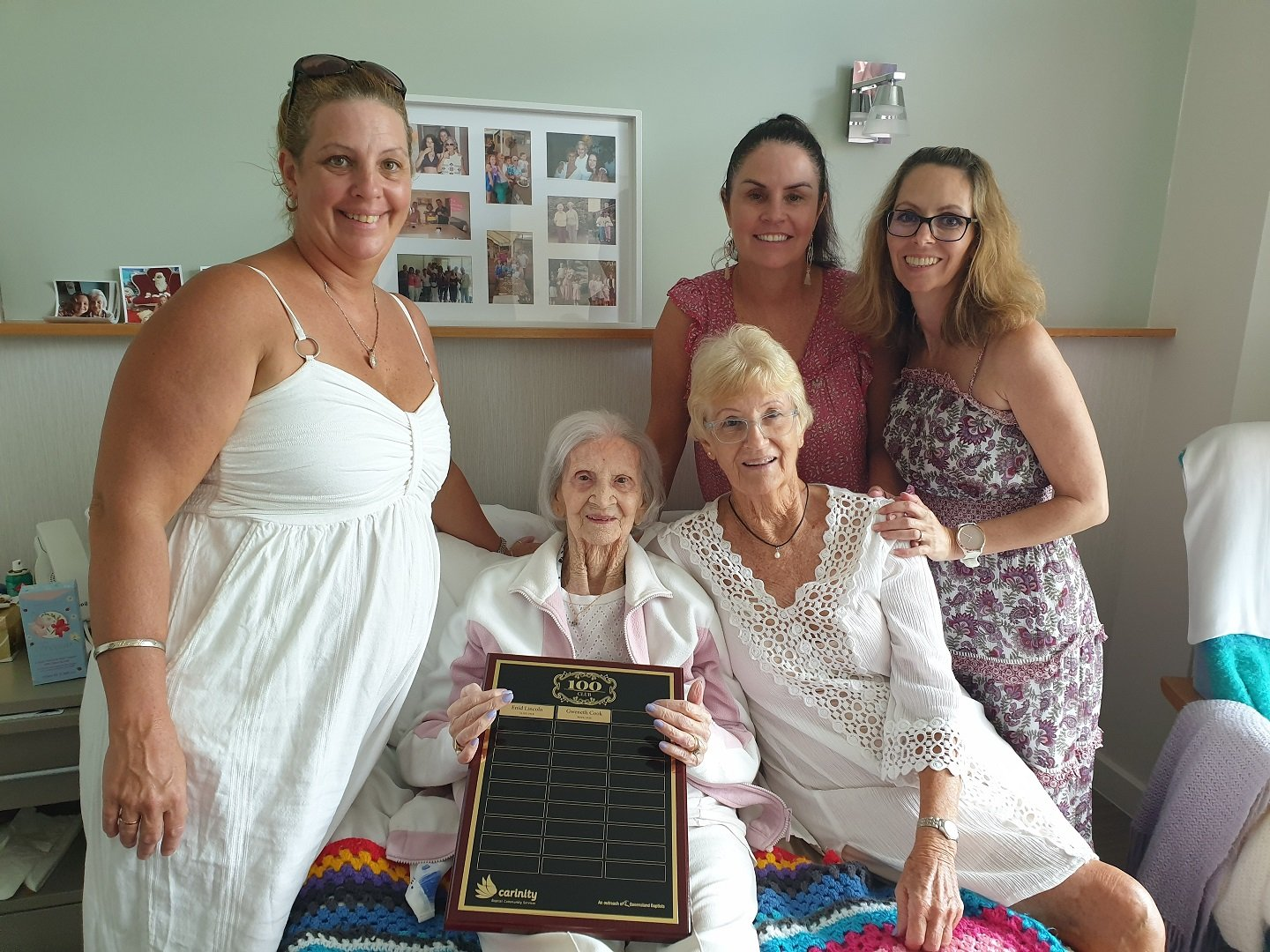 Gwen Cook celebrates her 101st birthday with her daughter and grand-daughters.