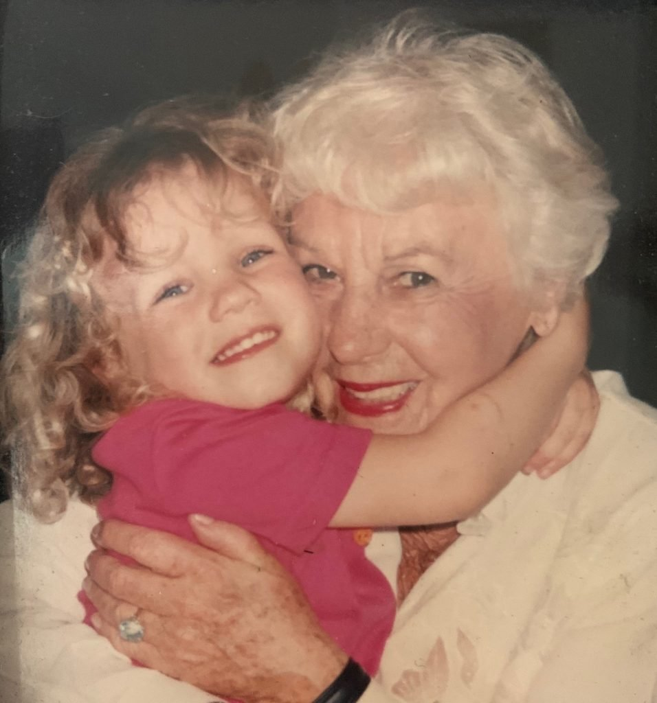 Joan Davey with her great granddaughter, Grace, in Brisbane.