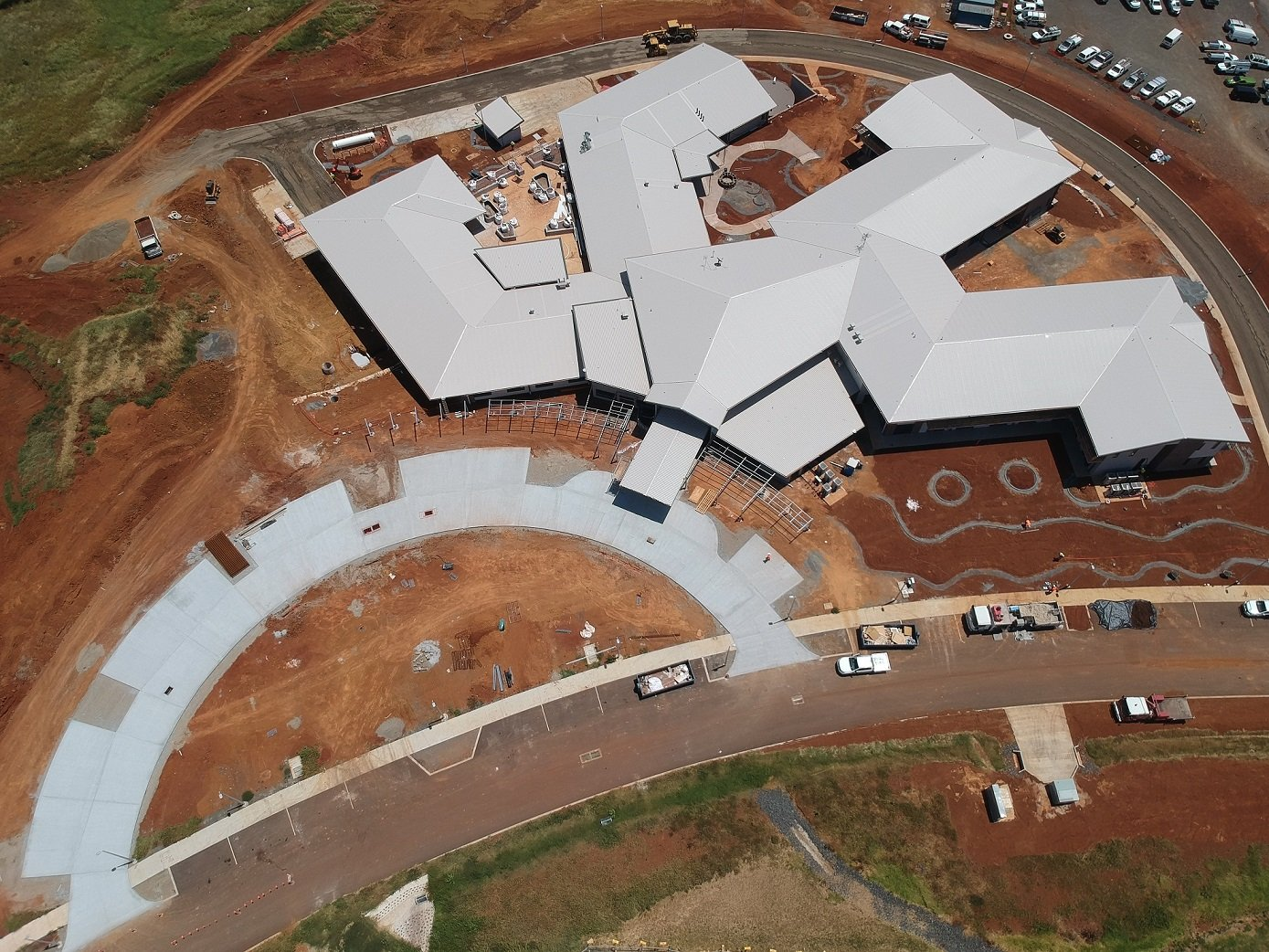 An aerial shot of the new Carinity Brownesholme residential aged care building at Highfields. Photo by Paynters.