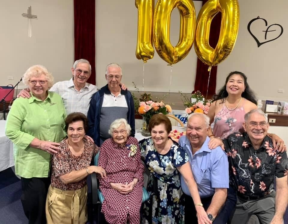 Bessie and her family at her 100th birthday party at Carinity Wishart Gardens.