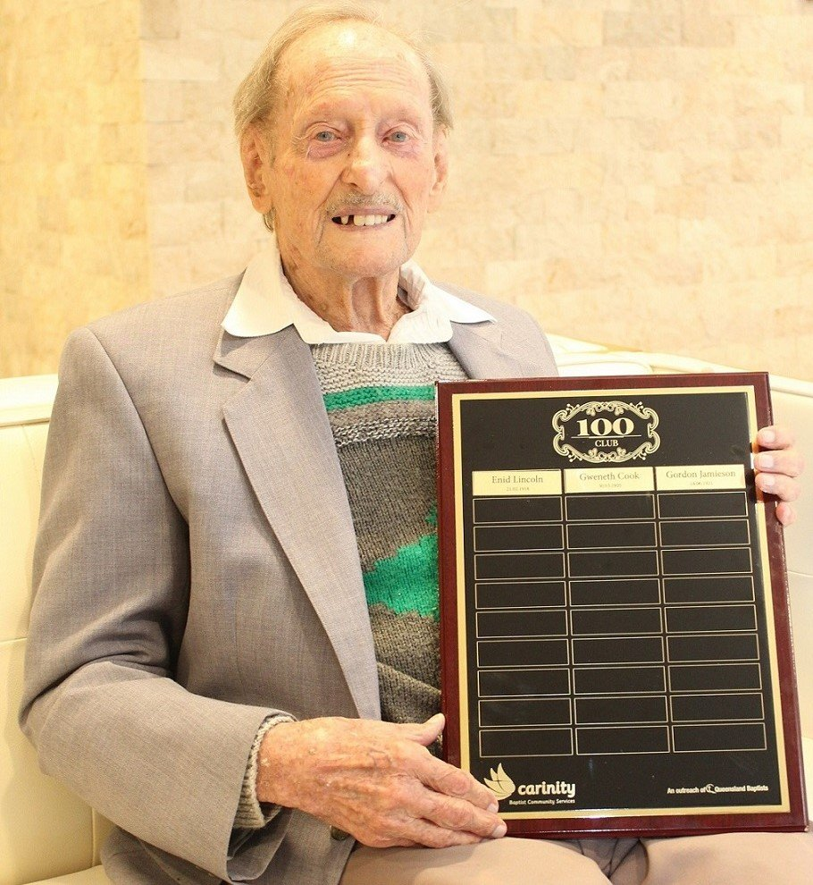 Gordon Jamieson has been inducted into Carinity Cedarbrook aged care's 100 Club for centenarians.